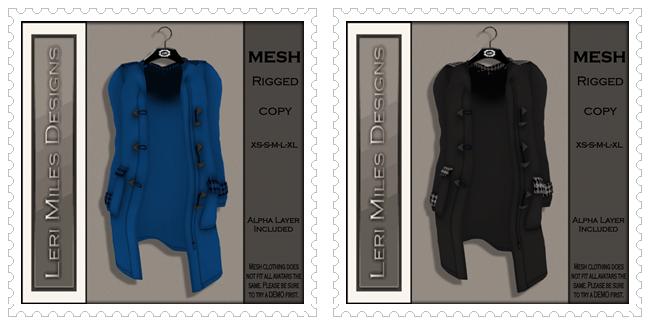 LMD Ad MP Pea Coat MESH Blue Houndstooth-Black & White