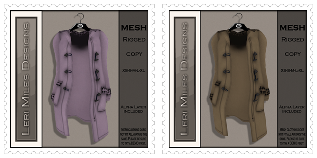 LMD Ad MP Pea Coat MESH Lilac Houndstooth-Mocha