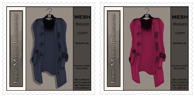 LMD Ad MP Pea Coat MESH Periwinkle Houndstooth-Pink