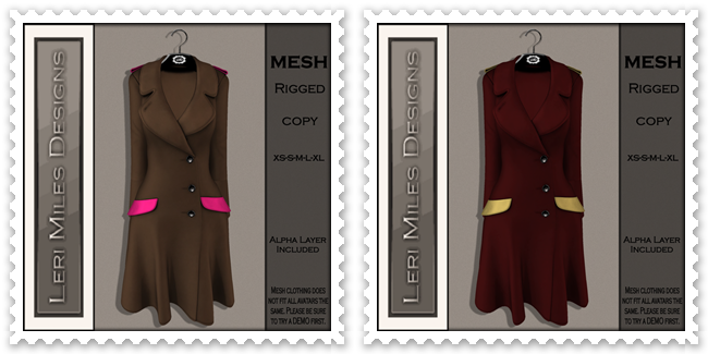 LMD Ad MP Reid Coat Chocolate-Bubblegum&Cranberry-Gold