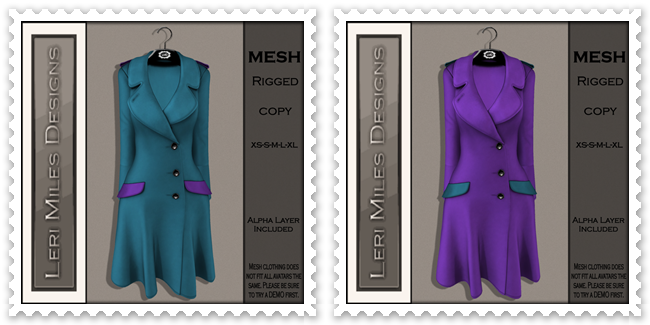 LMD Ad MP Reid Coat Teal-Violet&Violet-Teal