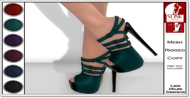 LMD Ad Display Beth Slink High Heels Teal
