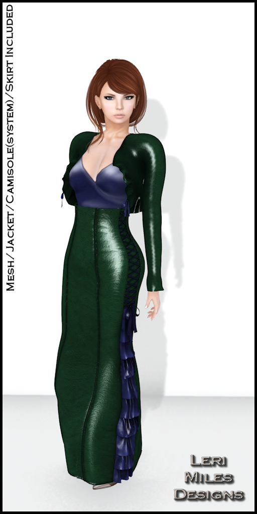 LMD Ad Display Sasy Jacket and Skirt Emerald