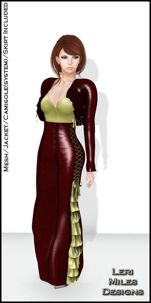 LMD Ad Display Sasy Jacket and Skirt Scarlet