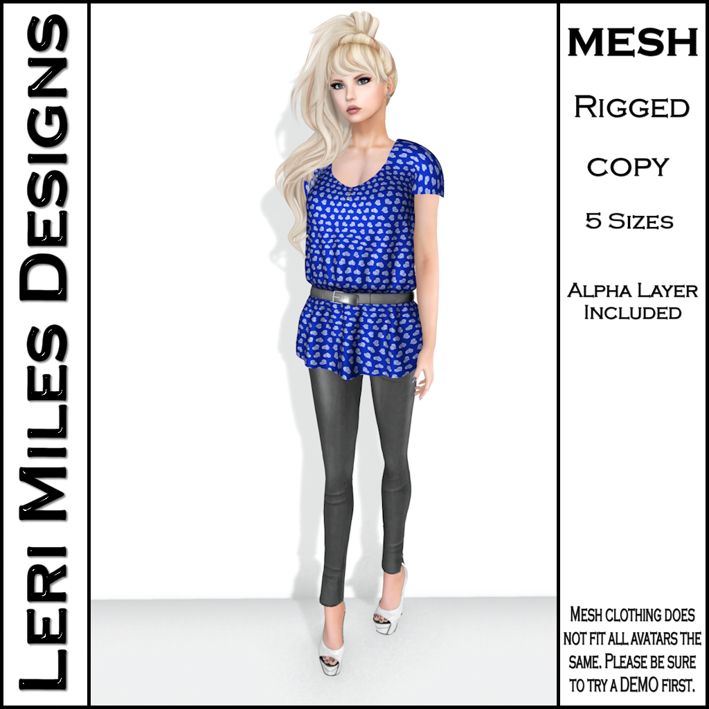LMD Ad Stacy Blouse & Leggings Blue_Silver