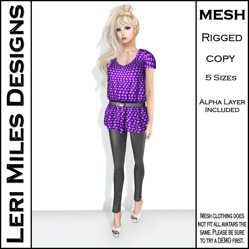 LMD Ad Stacy Blouse & Leggings Purple_Silver