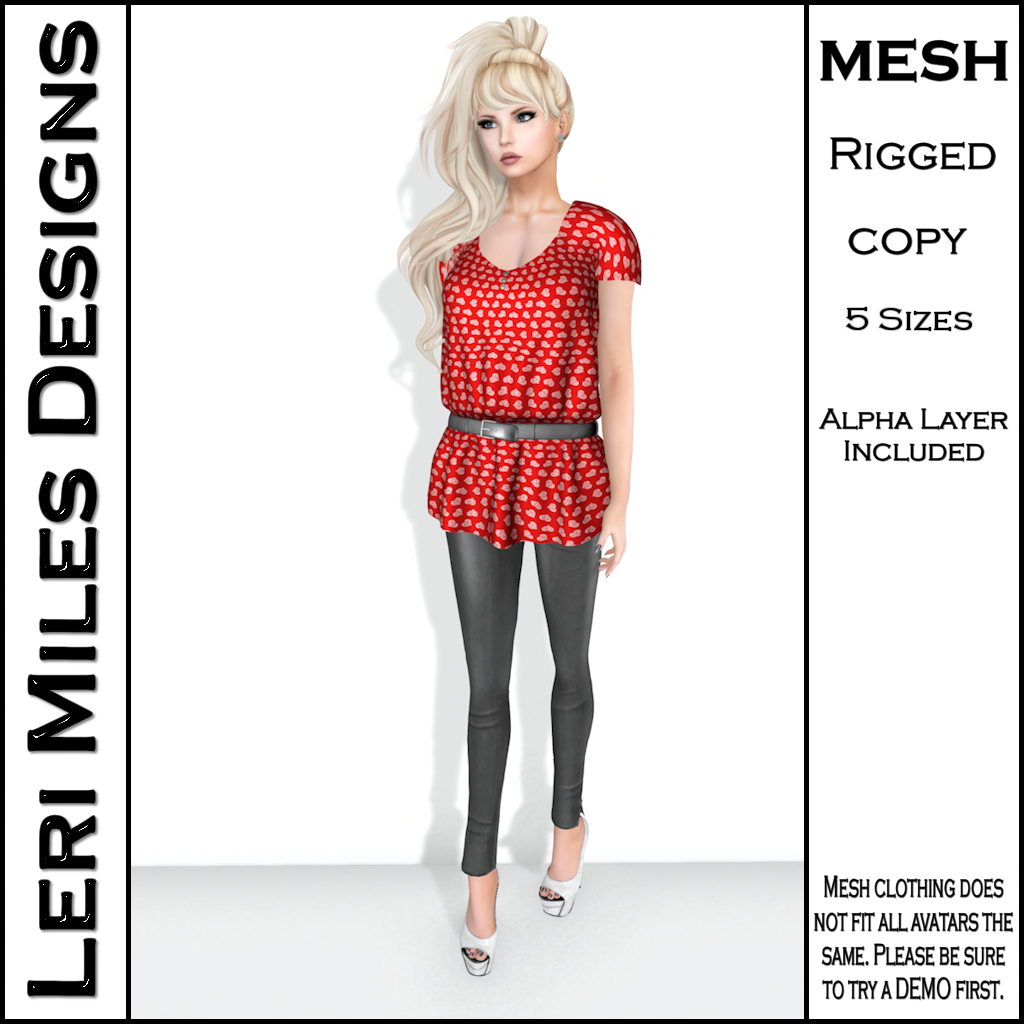 LMD Ad Stacy Blouse & Leggings Red_Silver