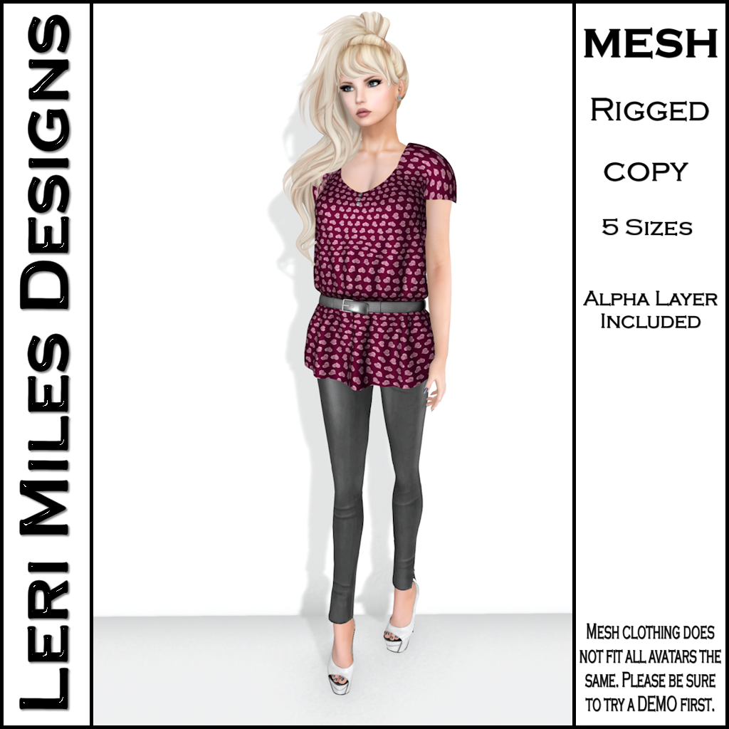 LMD Ad Stacy Blouse & Leggings Wine_Silver
