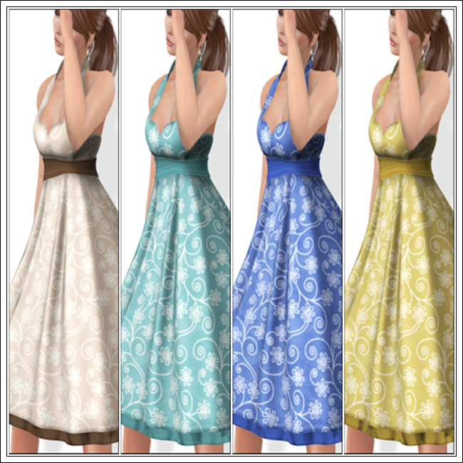 Joanie Dress in Almond, Aqua, Cobalt and Golden