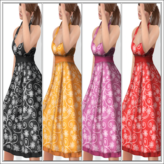 Joanie Dress in Onyx, Pumpkin, Rose and Strawberry