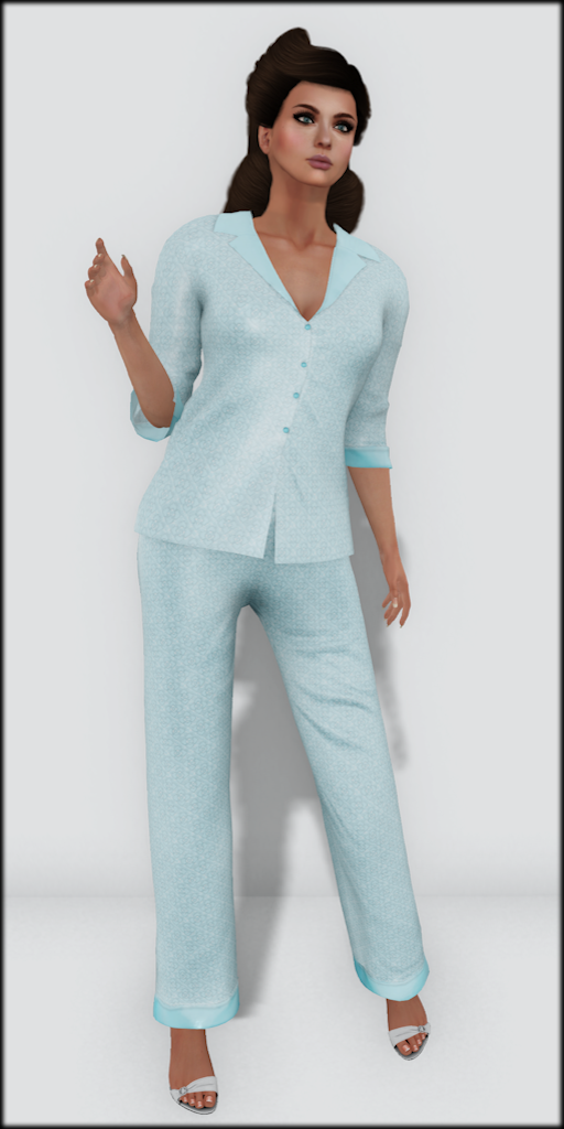 LMD Vendor Hayworth Silk PJ's Aqua