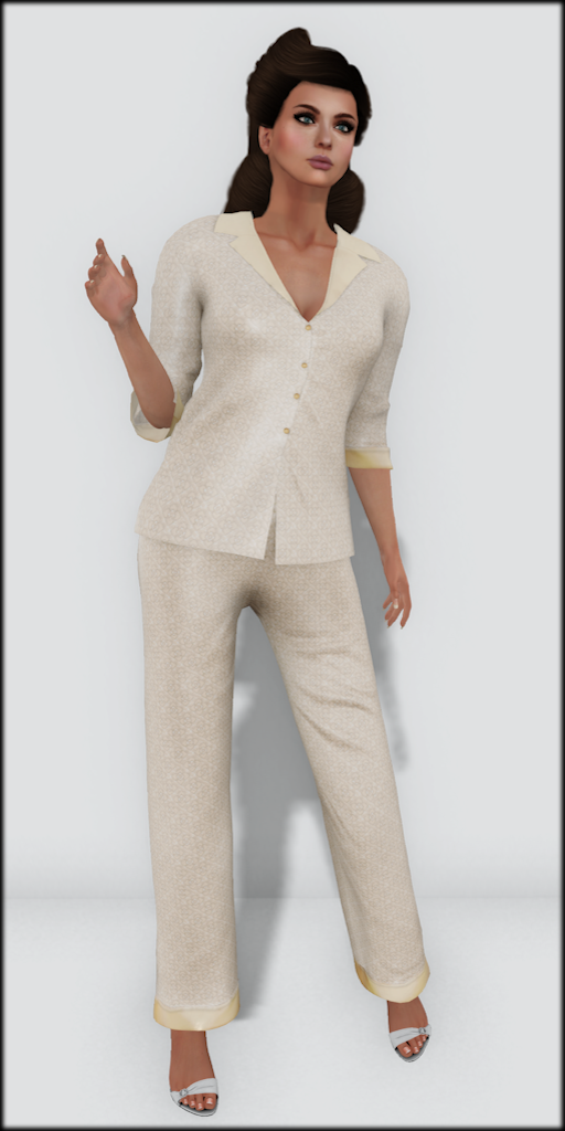LMD Vendor Hayworth Silk PJ's Cream